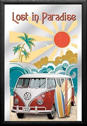 VW Volkswagen Samba Bulli Bus T1 in Paradise Nostalgie Barspiegel Spiegel Bar Mirror 22 x 32 cm -