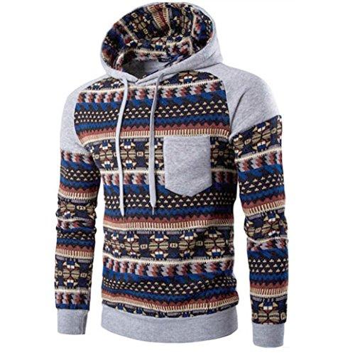 Kobay Herren Männer Retro Langarm Hoodie Kapuzen Sweatshirt Tops Jacke Mantel Outwear (Militär Herren Mantel)
