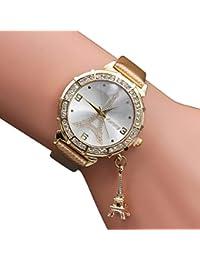 Longra Reloj ♥relojes de moda, lujo mujeres cuarzo Torre Eiffel rhinestone colgante de metal cepillado reloj de pulsera (Oro)