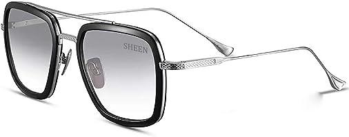 SHEEN KELLY Retro Occhiali da sole Tony Stark uomo di ferro Montatura in metallo per uomo donna METALLO