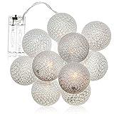 com-four® LED String Light Ball - Iluminación con 10 LED en decoración escandinava - Deco para Navidad, cumpleaños, Boda o Fiesta (01 Pieza - Bolas Blancas)