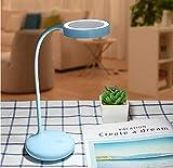 Kreativer Multifunktions-Schminkspiegel mit kleinem Faltfächer und USB-Lade-LED-Augenspiegel, blau