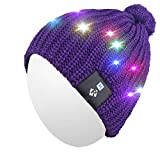 Qshell LED String Leuchten Beanie Hut Strickmütze mit Kupferdraht Bunte Lichter 4 Füße 18 LEDs für Männer Frauen Indoor und Outdoor, Festival, Feiertag, Feier, Parteien, Bar, Lila