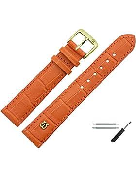MARBURGER Uhrenarmband 18mm Leder Orange - Rindsleder, Kroko Prägung - Inkl. Zubehör - Ersatzarmband, Schließe...
