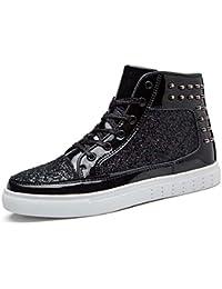 Pareja Zapatos De Alta Superior Unisex Remaches Nuevos Zapatos Casuales De La Placa Lentejuelas Bling Zapatos De Vestir De La UE Tamaño 36-44,Black,37EU