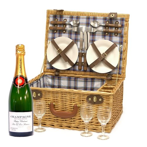 4 Person Luxury Henley Wicker Picnic Basket Hamper with Personalised 750ml Fine Champagne and Accessories - Gift Ideas for Christmas presents, Birthday, Anniversary, Wedding and Corporate