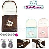 BabyMatex LITTLE OWL Comfort Feel ** BRAUN ** Kuschel-Fußsack für 3 und 5 Punkt Gurt Systeme -- FRÜHLING / SOMMER / HERBST -- Ideal für Buggy, Kinderwagen, Jogger, Babyschale Gr.0/0+, Autositz wie z.B. Maxi Cosi, Römer etc.