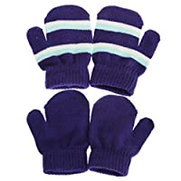 Baby Boys/Girls Winter Double Striped Mittens (2 Pairs) (One Size) (Blue)