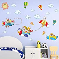 decalmile Adorable Animal Airplane Wall Decals Hot Air Balloon Wall Stickers Nursery Baby Boys Room Kids Bedroom Wall Decor