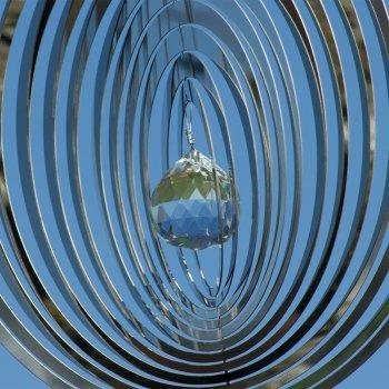 Edelstahl Windspiel – Mirror Crystal Oval – Abmessung: 20 x 20cm – mit Kristallglaskugel, Kugellagerwirbel und Haken – (Oval) - 2
