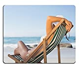 Liili Mouse Pad Natural Rubber Mousepads Woman relaxing in deck chair on the