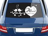 GRAZDesign Autoaufkleber Hochzeit mit Wunschnamen - Aufkleber Vornamen Just Married - Autodeko Aussen Süßes Motiv personalisiert / 70x31cm / 740379_70x31_010G