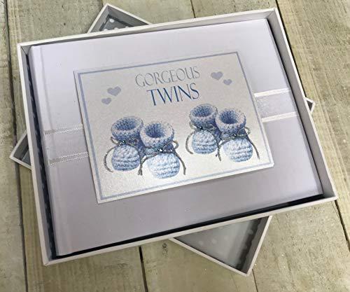 White Cotton Cards Fotoalbum mit Twins, klein, blau Beute