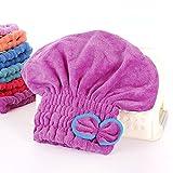 Happyit Hair Dry Cap Ultrafine Fiber Bow Tie Soft Hair Dryin Hat Head Towel Super Magic Absorbing for Women