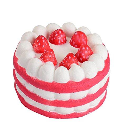 Erdbeere Kuchen Dekompression Spielzeug Langsames steigendes Kawaii Squishy Stress Helfer Party Favors für Kinder Erwachsene Hand Handgelenk Spielzeug (6cm*3.5cm, Rot) (Cute Party Favors)