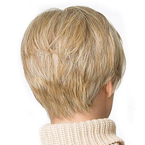 GROOMY Hellblonde Boy Cut Kurze Pixie Gerade Cosplay Volle Perücke Für Weiße Frauen - Boy Perücke