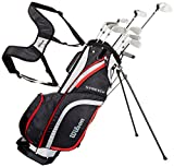 Wilson Stretch XL WGG157548, Set Completo per Principianti, 10 Mazze da Golf con Sacca, Mano Destra Uomo, Nero/Grigio/Rosso, M