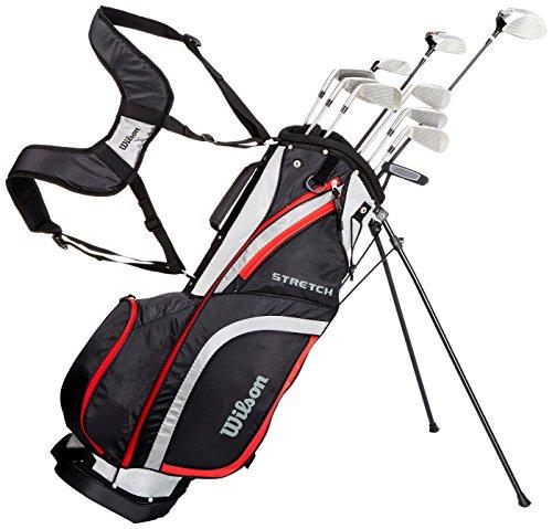 Wilson WGG157548 Ensemble Complet pour Débutant, 10 Clubs de Golf avec Sac Trépied, pour Homme (Main Droite), Stretch XL, Noir/Gris/Rouge