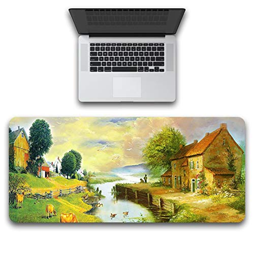 Blisfille Mauspad Gummi & Stoff Landschaftskarte Multicolor 300X800X3mm Gaming Mauspad Mousepad