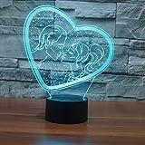 BFMBCHDJ Valentinstag Romantisches Geschenk 3D Lampe Energiesparende Acryl Nachtlicht Dekoration Nachttischlampe A3 Schwarz Basis + Fernbedienung
