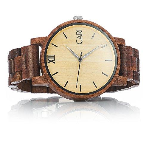 Cari Herren Holz Armbanduhr Havanna Walnussholz Braun
