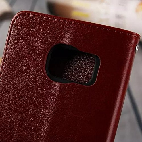 Wkae Case Cover Samsung S7edge Fall feste Folio magnetische Design Flip Brieftasche Stil Fall Farbmuster PU-Leder-Abdeckung Standup-Abdeckungsfall für Samsung S7edge ( Color : Brown , Size : Samsung S Red