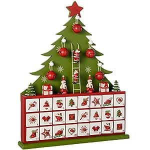 WeRChristmas–Calendario dell'Avvento in legno, decorazione natalizia a forma di albero di Natale, Legno, Green, 40 x 32.5 x 6 cm