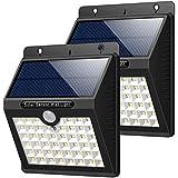 HETP Luz Solar Jardín, [2 Piezas] 46 led Foco Solar Exterior con Sensor de Movimiento Luces solares Impermeable Inalámbrico Lámparas Solares Pared Seguridad 3 Modos Inteligente para Jardín,Escaleras