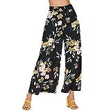 QINPIN Damen Bedruckte Blumenhose mit weitem Bein und weiten Hosen XL