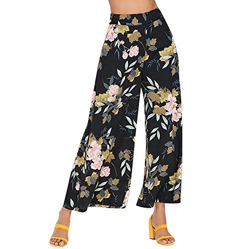 ESAILQ Damen drucken Floral Hose Lange Hosen Baggy Weite Hosen(Small,Schwarz)