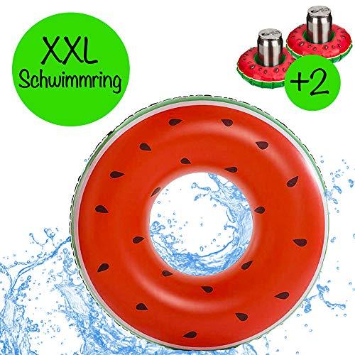 Riesen XXL aufblasbare Wassermelone mit 2x aufblasbaren Getränkehalter für Getränke | Durchmesser 125cm | Schwimmring Donut Schwimmreif Luftmatratze Wasserspielzeug für den Pool