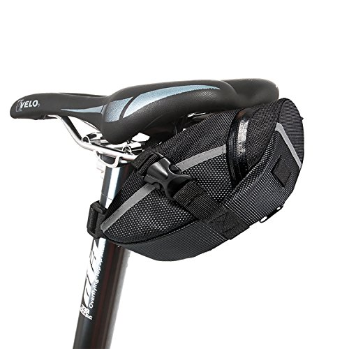 Fahrrad Satteltasche, Ubegood Kompakte Fahrradtasche Befestigungsriemen Aero Wedge Pack Satteltasche Mountainbike Bag für Handy, Werkzeug und Portmonnaie - Schwarz