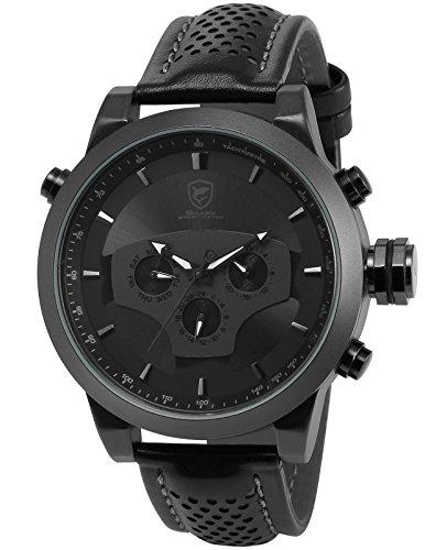 Shark Herren Armbanduhr 5,0 cm Extragroßes Uhrgehäuse Leder Band Schwarz SH210