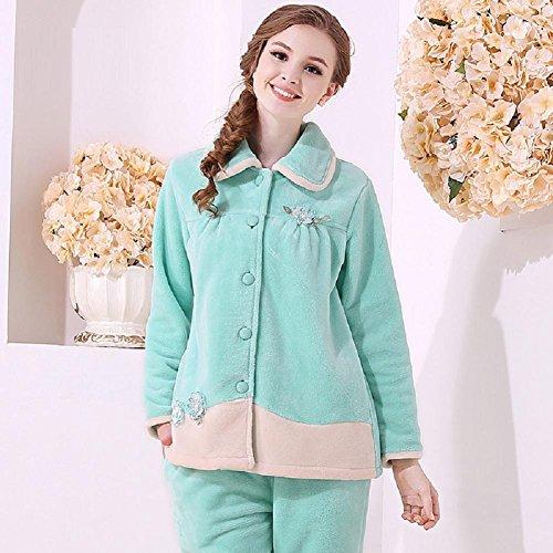 automne et hiver femme corail Pyjamas molletonnés épaissie Accueil Vêtements Set Green