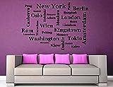 """Wandtattoo Wohnzimmer """"Hauptstädte (NEW YORK, London, BERLIN, Tokio,....)"""""""