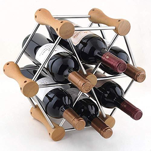 Eeayyygch portabottiglie vino, creativo 6 bottiglie portabottiglie in acciaio inox poligono portapenne in legno massello multi-strato champagne rack 370 * 140 * 330m (colore : -, dimensione : -)