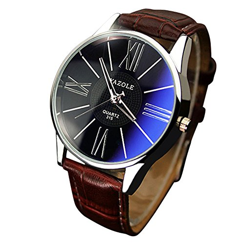 IG-Invictus Luxus-Mode Leder Herren Glas Quarz Analog Armbanduhr Uhren