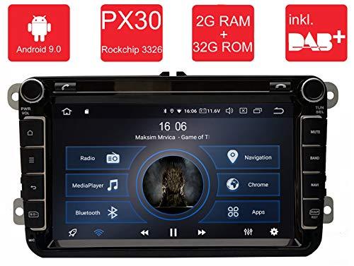 M.I.C.® AV8V5-lite Android 9 Autoradio Naviceiver Moniceiver Navigation: PX30 2G+32G 8 Zoll IPS Bildschirm DAB+ Digitalradio Bluetooth USB Mirrorlink GPS CAM Canbus für Seat Skoda Volkswagen - Für Auto Audio-gps-system