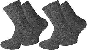 2 Paar normani® Cuddly Socks Kuschelsocken in verschiedenen Farben Farbe Uni/Anthrazit Größe 39/42