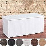 CLP Polyrattan Auflagenbox Comfy l Gartentruhe für Kissen und Auflagen l Größen erhältlich 125, Weiß