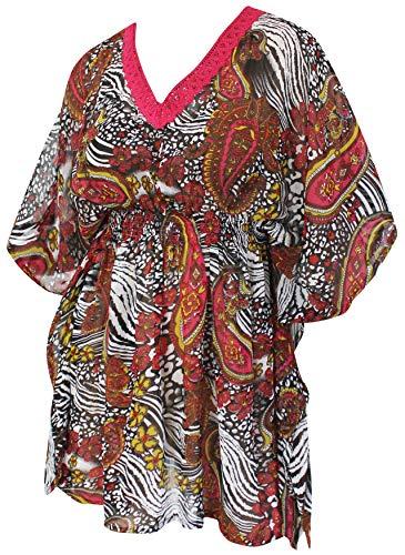 LA LEELA Paisley leichte Chiffon Strand Hawaii Vertuschung Kaftan Kleid Rosa -