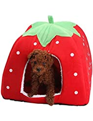 Ltuotu 5 gato cojín Casa sofá-cama de color tienda de campaña para 4 perro mascota de fresa tamaño (rojo, XXL)