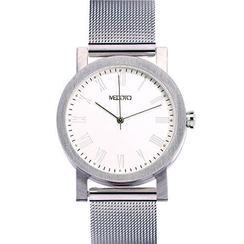 medota minimalistisches Licht Serie Damen-Armbanduhr Automatik Wasser beständig Analog Quarz–Nr. 21901Audioadapter (weiß)