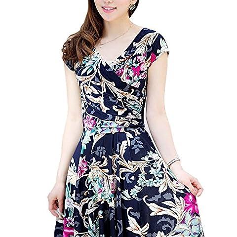 Damen Vintage Sommerkleid mit Flatterndem Rock Blumenmuster Elegant Casualkleider Bunte Kleider Sommerkleider Kurz