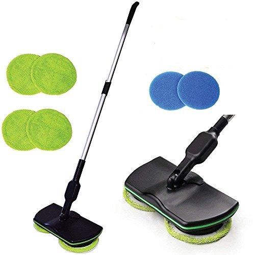 Mop wireless elettronico, pulitore per pavimenti centrifugo 3 in 1 per tutte le superfici - mop-lucidatrice e lavapavimenti ricaricabile per uso interno con 4 pad in microfibra e 2 pad di lucidatura per uso interno