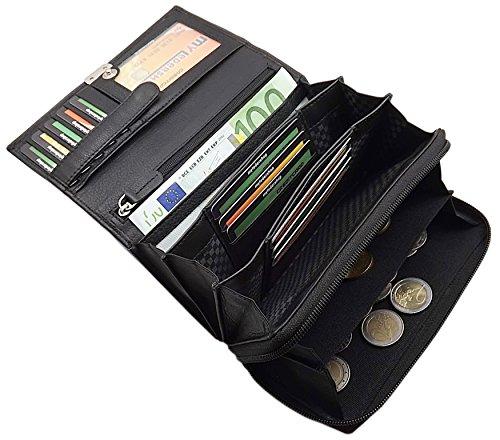Große Rindleder Damen Geldbörse mit extra vielen Fächern in 4 Farben (Schwarz)