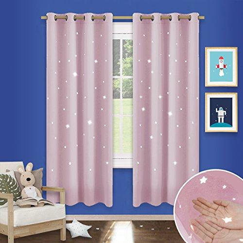 Tende oscuranti con stelle vuote con occhielli - pony dance tende oscuranti isolate termicamente, design moderno, per sala / ufficio / camera da letto , 117 x 182 cm , un paio , rosa