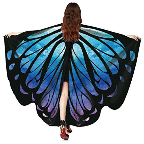 Halloween Chrismas Party Schal Wrap, Hmeng Schmetterling Flügel Decke Poncho Damen Sommer Schals Kleid Strand Kleid Kimono Spaß Kleidung Kostüm Zubehör für Party oder Show (168*135CM, Blau) (Kimono Tragen)