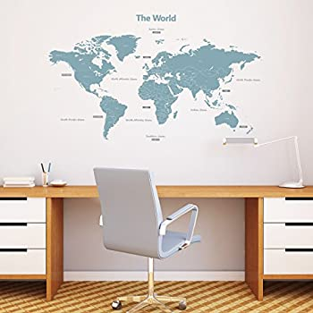 Wall world map vinyl sticker decal mural any colour 180 x 110cm decowall dl 1509b modern blue world map kids wall stickers wall decals peel and stick removable wall stickers for kids nursery bedroom living room large gumiabroncs Images