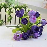 Gefälschte Blume ,SUCES 15 Köpfe Rose Seide Wohnkultur Unechte Blumen Deko Gefälschte Seidenrosen Plastik Braut Hochzeitsblumenstrauß für Haus Garten Party Blumenschmuck (Blue)